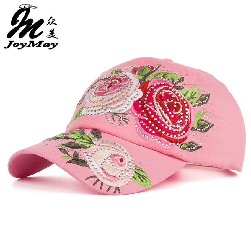 Prix pour Nouvelle Arrivée haute qualité Femmes de mode de chapeau Coloré fleur broderie strass Casquette de baseball snapback Réglable Sunhat B344