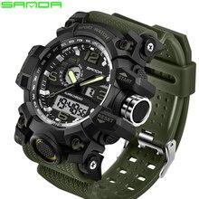 SANDA en lüks marka G tarzı erkek askeri spor saat LED dijital saat su geçirmez erkek kol saati Relogio Masculino