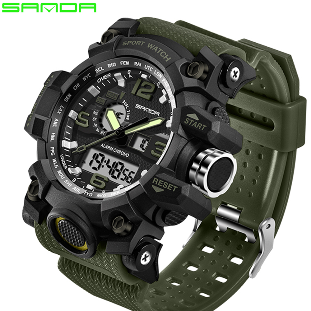 SANDA top luxury brand G style men s military font b sports b font watch LED
