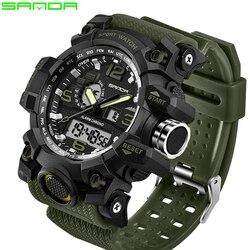 9d5564997cb SANDA top marca de luxo G estilo dos homens militares esportes relógio LED  relógio digital à