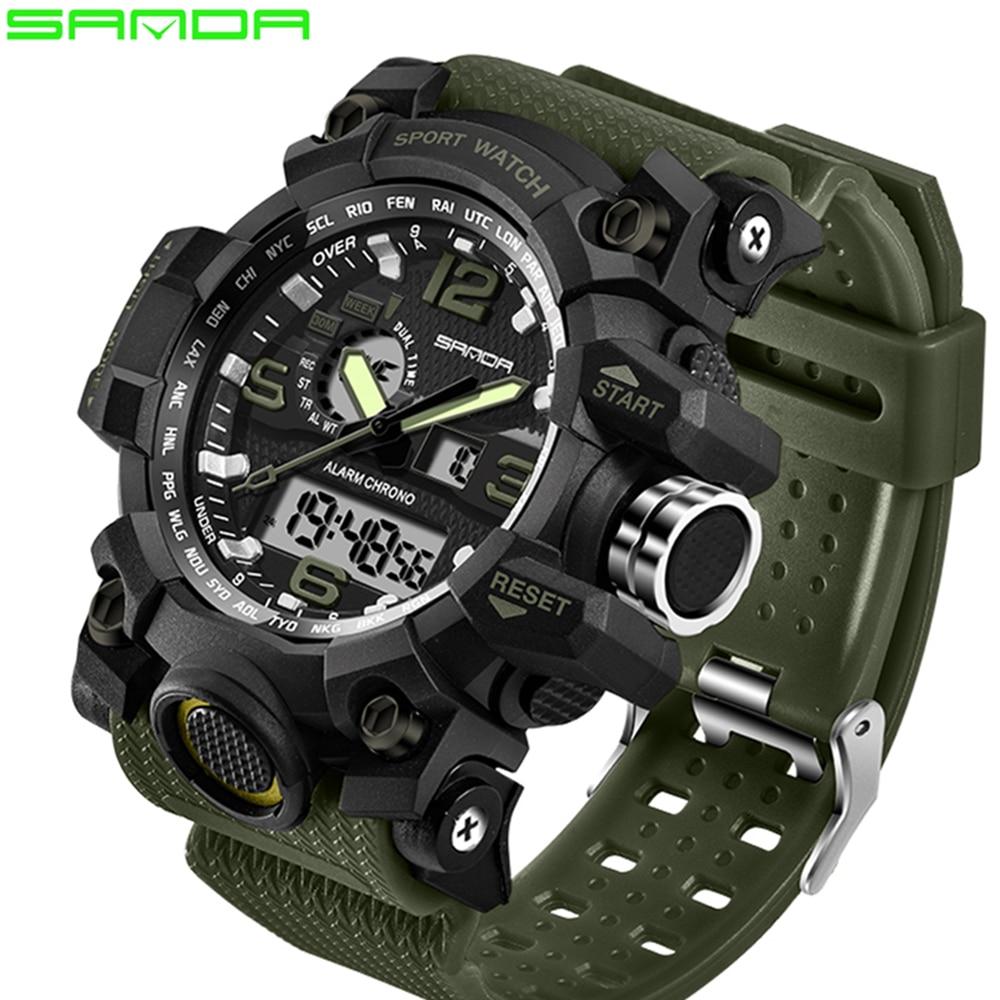 SANDA top marque de luxe G de style hommes sport militaire montre LED numérique montre étanche hommes de montre Relogio Masculino