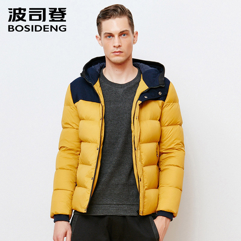 BOSIDENG new winter duck down jacket thick hood down coat warm outwear high quality business style spliced sleeve B1501053