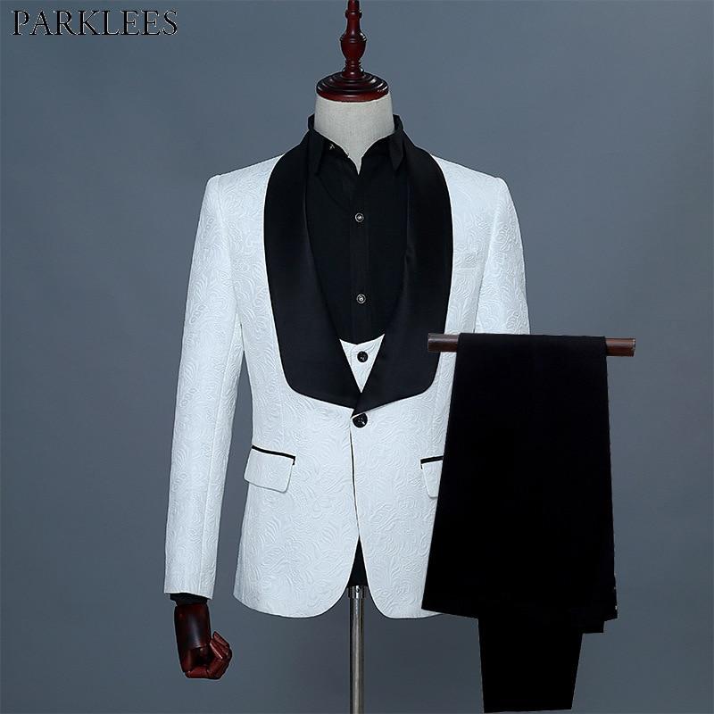 Heren Grote Shawl Revers Bloemen Jacquard 3 Pcs Suits (Jas + Vest + Broek) 2019 Brand New White Wedding Bruidegom Prom Smoking Pak Mannen 2XL-in Blazers van Mannenkleding op  Groep 1