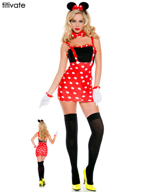 2baadd1678cd Titivate caliente mickey ropa para mujeres amor mini mouse traje de  disfraces de halloween fancy dress vivir papel dress del partido de cosplay  sexy ...