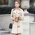 New 2016 Autumn women's wind coat Full sleeve long style Double Breasted solid Khaki B brand style Trench Ladies plus size 2xl