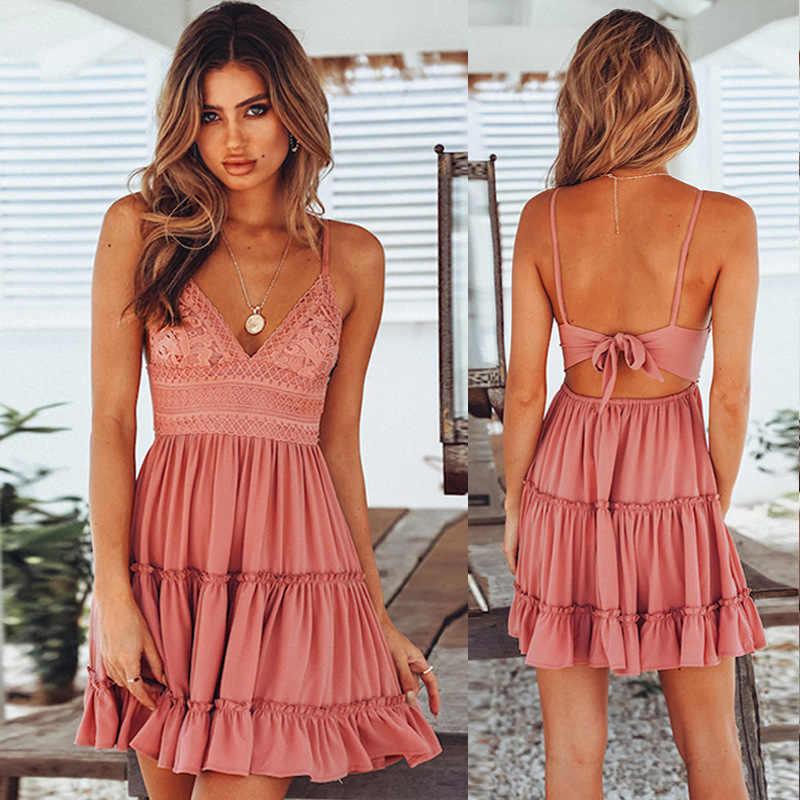여성 여름 드레스 2020 새로운 스트랩 슬링 섹시한 v-목 여름 드레스 백 레이스 보우 레이스 미니 드레스 여성 vestidos 드 페스타 oym0779