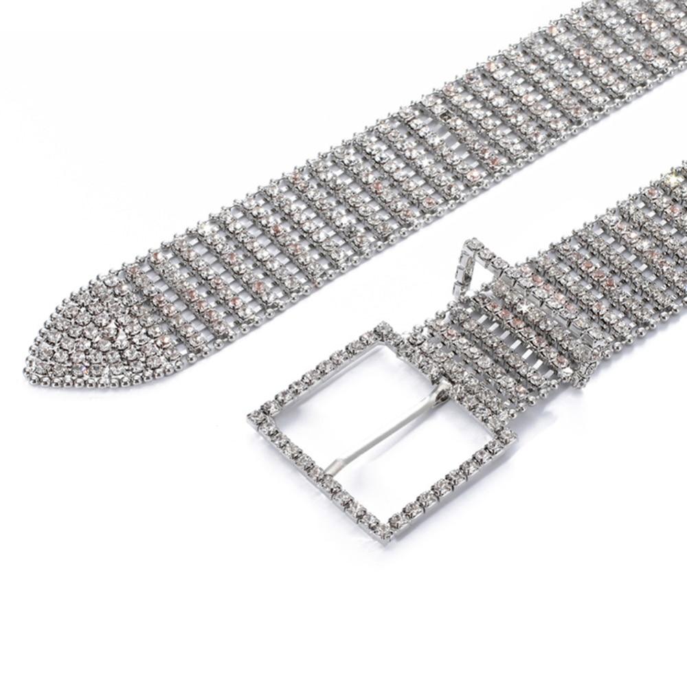Women 39 s 10 Rows Full Rhinestone Shiny Waist Belts Waistband Party Dress Belt Waist Belts Women Diamante Crystal Chain Bride Wide in Men 39 s Belts from Apparel Accessories