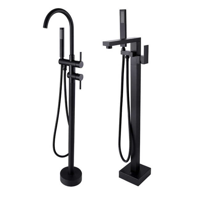 Matte Black Freestanding Bathtub Faucet Bath Spout Shower Diverter Floor  Mount Bathtub Filler Mixer Taps Shower