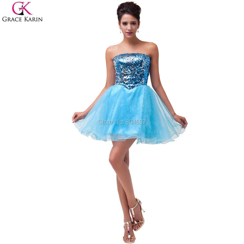 Sweetheart Grace Karin Strapless Sequin Glitter Black/Blue Vestidos ...
