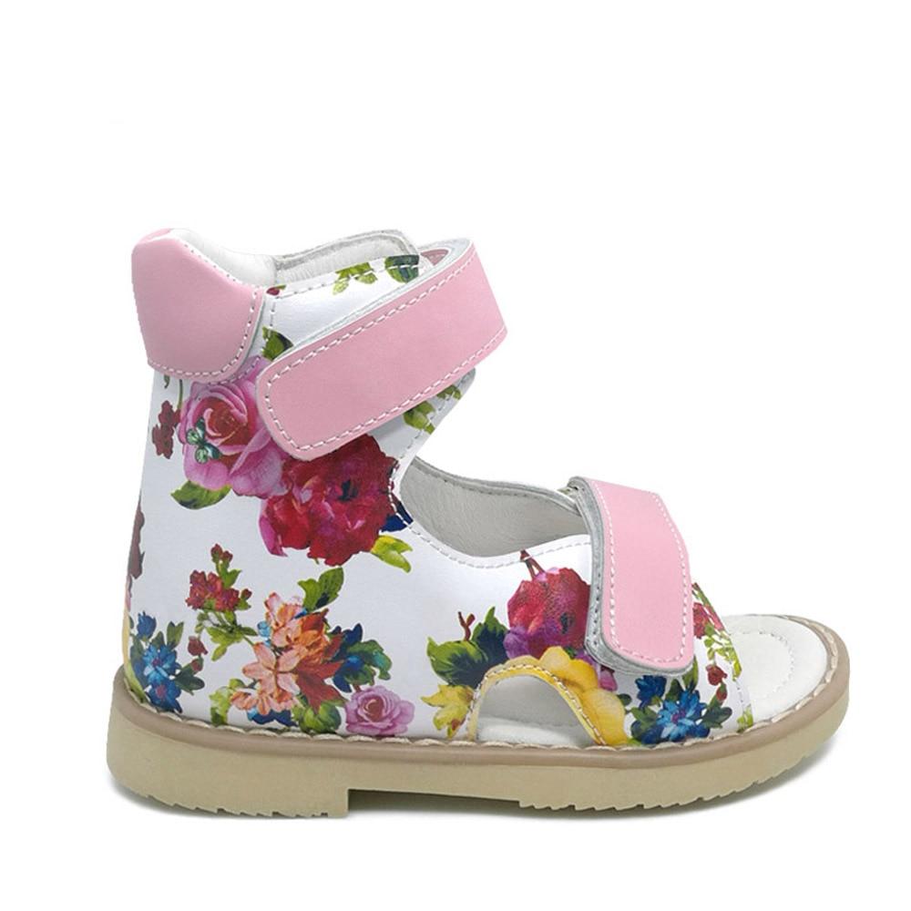 03a48eed32 Summer Children Printing Leather Sandal Girls Princess Beautiful Flower Shoes  Kids Flat Sandals Baby Girls Orthopedic