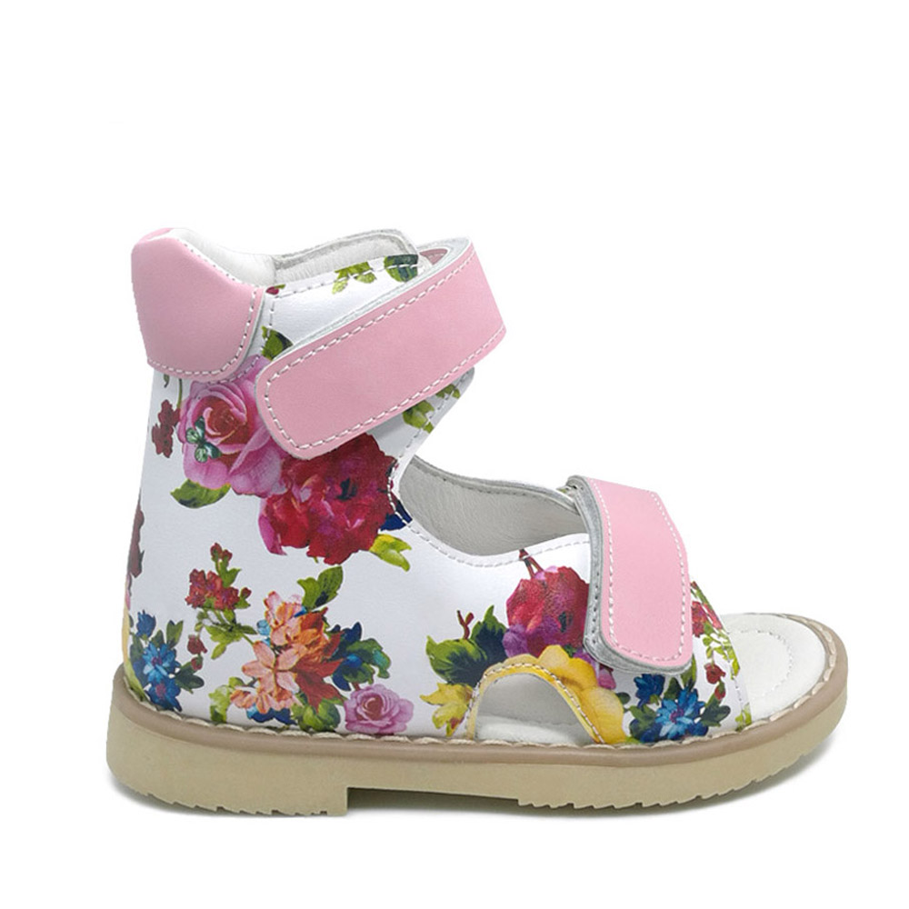 Summer Children Printing Leather Sandal Girls Princess Beautiful Flower Shoes Kids Flat Sandals Baby Girls Orthopedic Shoes haochengjiade summer girls sandals princess flower shoes kids children flat children sandals baby shoes leather shoes size 21 30