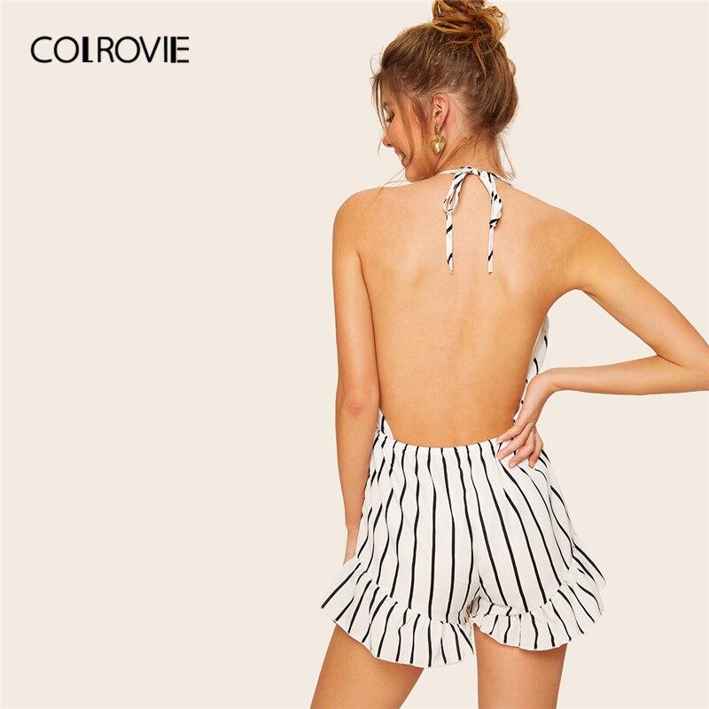 COLROVIE White Backless Drawstring Waist Striped Ruffle Boho Romper Women Summer Sleeveless Halter Beach Playsuit Short   Jumpsuit