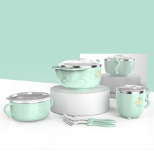Baby feeding Bowls children kids Tableware Set Dish Stainless Steel Insulation Strong Suction Bowl Spoon Baby Feeding plate