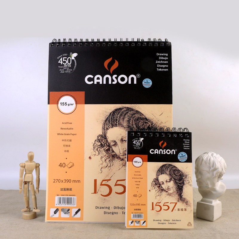 French Canson [1557 Series] Beginners Sketchbook Adult Portable Sketchbook Coil Hand-painted 155g Art Supplies