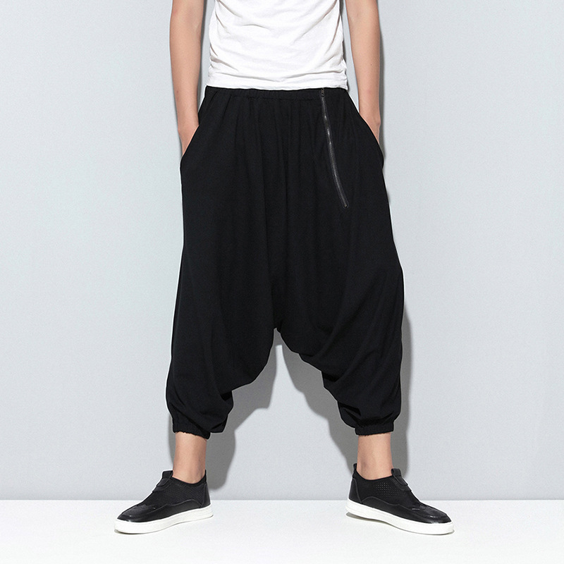 Male Trousers Cross-Pants Stretch Elastic-Waist Loose Black Casual Summer Fashion Hip-Hop