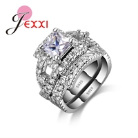 JEXXI 925 Sterling Silver Ring Set 2 PCS Fashion Jewerly Rings For Females With Full High
