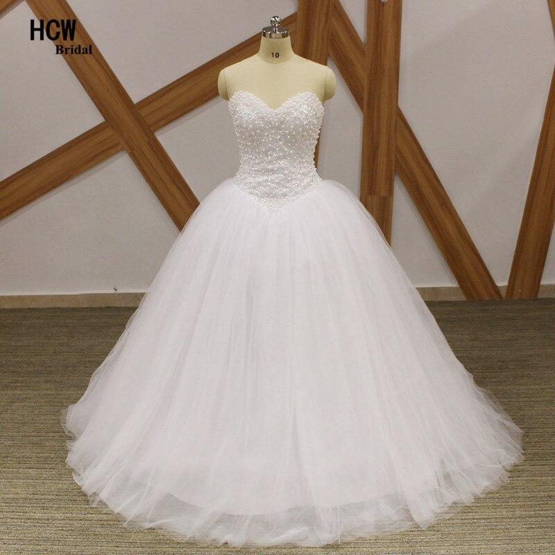 174f67b7df 2019 biała suknia balowa suknia ślubna od głównych atrakcji w ich kryształy  perły Tulle Sweetheart Backless arabski suknia ślubna Vestido De Noiva  Custom w ...
