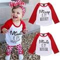 Bebé lindo de Las Muchachas Casual Camiseta de Manga Larga Carta Minnie impreso Algodón Ropa Blusa Ropa Outfit