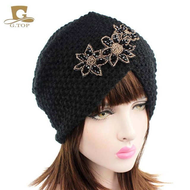 2017 New style European and American popular manual wool hat corn cross India three Flower Hat Cap Beaded accessories