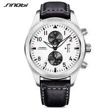 SINOBI Mens Military Chronograph Wrist Watches Date Leather Clock Luxury Male Sports Shock Geneva Quartz Wristwatches