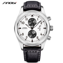 SINOBI Mens Military Chronograph Wrist Watches Date Leather Clock Luxury Male Sports Shock Geneva Quartz Wristwatches 2017 G14