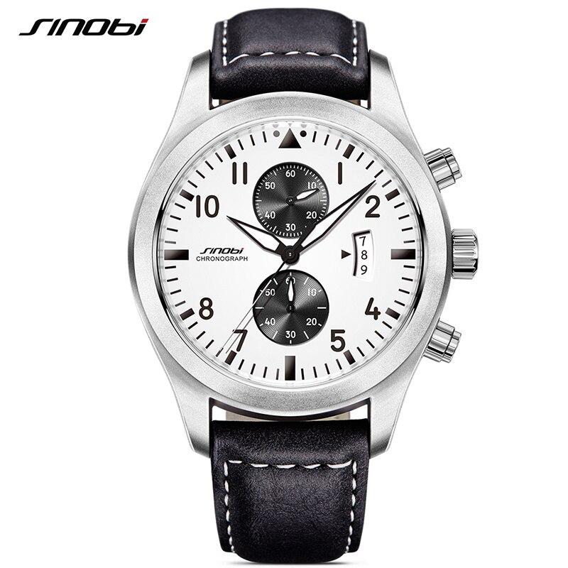 SINOBI font b Mens b font Military Chronograph Wrist font b Watches b font Date Leather