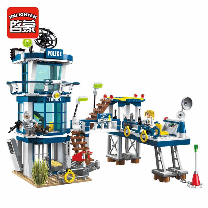 Enlighten 565Pcs City Series Police Rescue Plan Helicopter Model Building Kit Blocks Brick Toy compatible with lego автомобиль на электро радиоуправлении qunxing