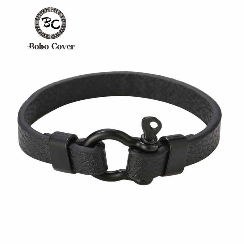 Classic Black Leather charm Bracelets Men couple hope Anchor bracelets bangles for Men women femme homme Fashion jewelry Gift