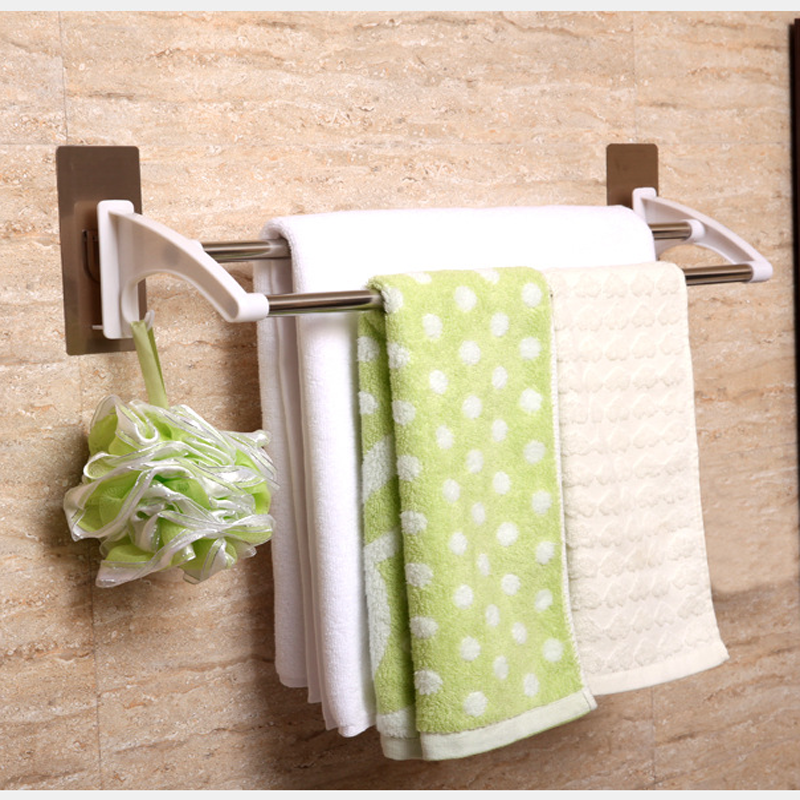 hanging towel. Strong Seamless Sticker Double Rod Towel Rack Stainless Steel Bathroom Hanging Bar Toilet Nailless Drill Free On Aliexpress.com | Alibaba