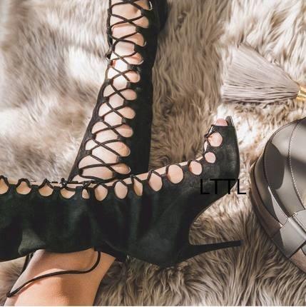 À Noir Up Chaussures Bottes Haute Stiletto Bout Lace Talon Bandoulière Haut Fit Élégant Femmes Mince En Ouvert Sandales Assez Genou Daim pdzqq