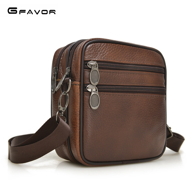 все цены на G-FAVOR Men Menssenger Bag Genuine Leather Shoulder Bags High Quality Male Handbag Fashion Business Men Crossbody Bags