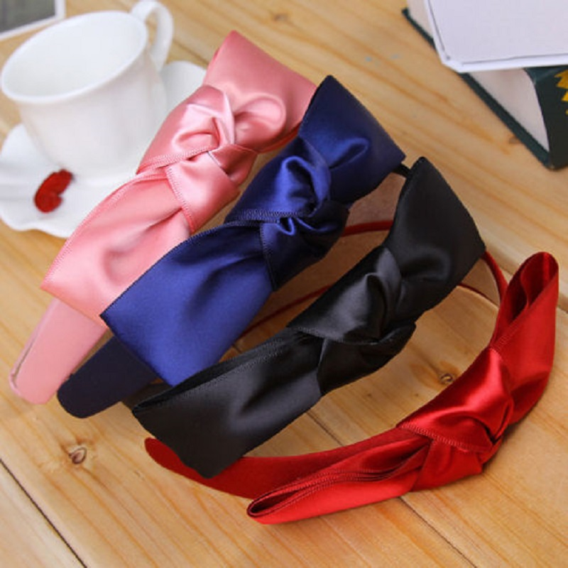 1 pcs Fashion Korean Women Lady Girls Bowknot Ribbon Bow Knot Wide Bow Headband Clip Hairband Hair Band Accessories 8 colors women bunny rabbit ear ribbon headwear korean lips hairband metal wire scarf headband hair band accessories 6 colors 1pcs