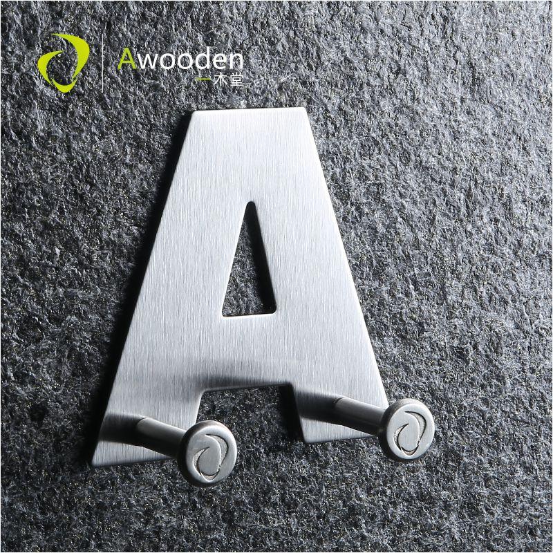 Awooden 1PCS Decoration Key Hook 26 Alphabet Shaped Functional Coat Hat Hooks Stainless Steel Door Wall Cabinet Kitchen Bathroom