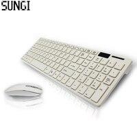 Schöne Geschenk Ultra Thin Optische 2,4G Drahtlose Tastatur Und Maus Combo Usb-empfänger Für PC Desktop Laptop Weiß Büro Set