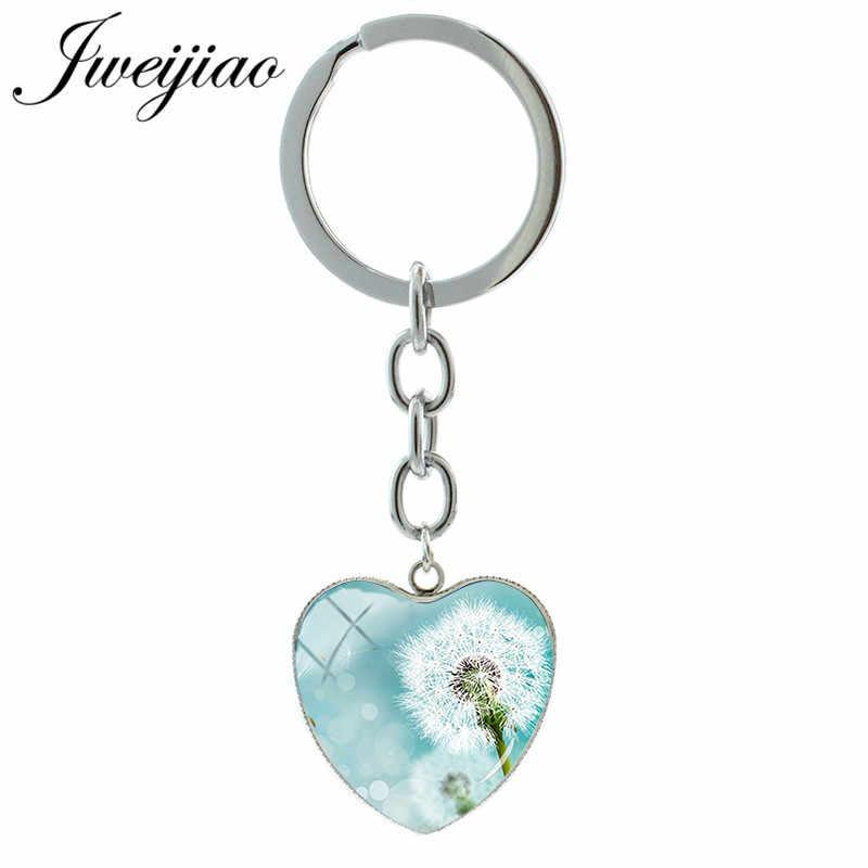 JWEIJIAO אופנה לבן שן הארי Keychain מפתח טבעת לב צורת תליון זכוכית קרושון תמונה קסמי מותאם אישית מתנה DA01