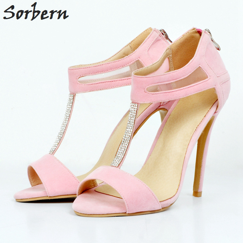 Фотография Sorbern Crystal T Strap Women Pumps High Heels For Women Pump Women Plus Size High Heel Shoes Pink Faux Suede Peep Toe Ladies