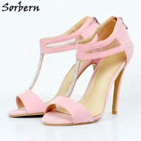 Sorbern Crystal T Strap Women Pumps High Heels For Women Pump Women Plus Size High Heel Shoes Pink Faux Suede Peep Toe Ladies