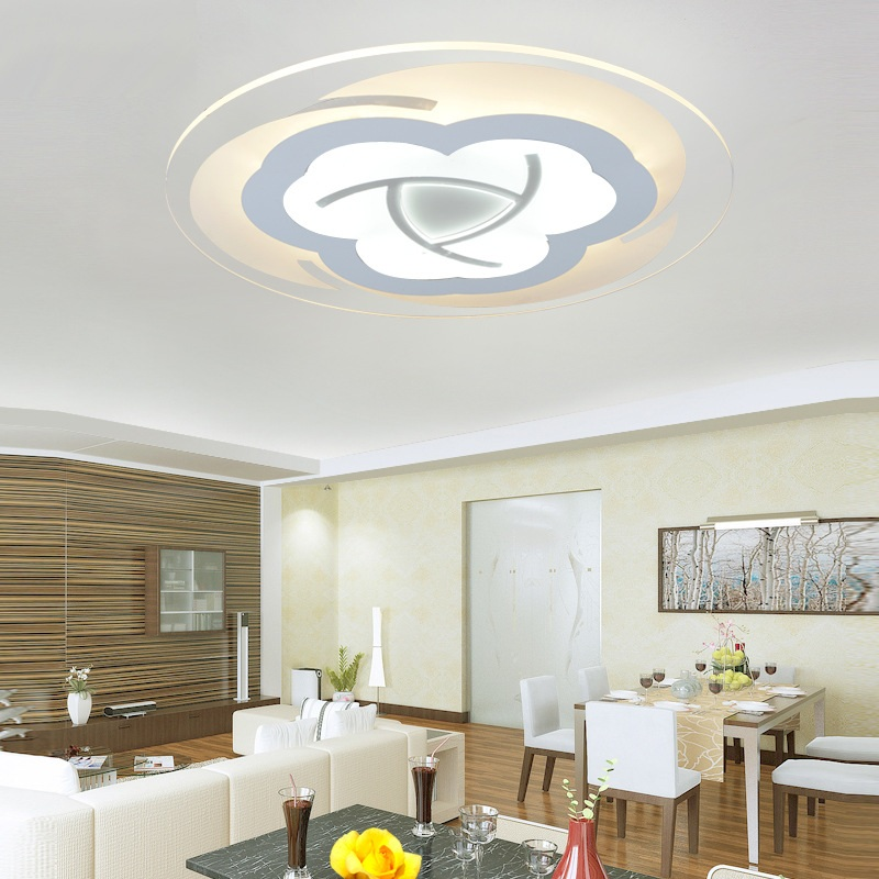 Тонкий акриловый цветочный светодиодный потолочный светильник, лампа для гостиной, спальни, кабинета, светильник и коммерческого освещени...
