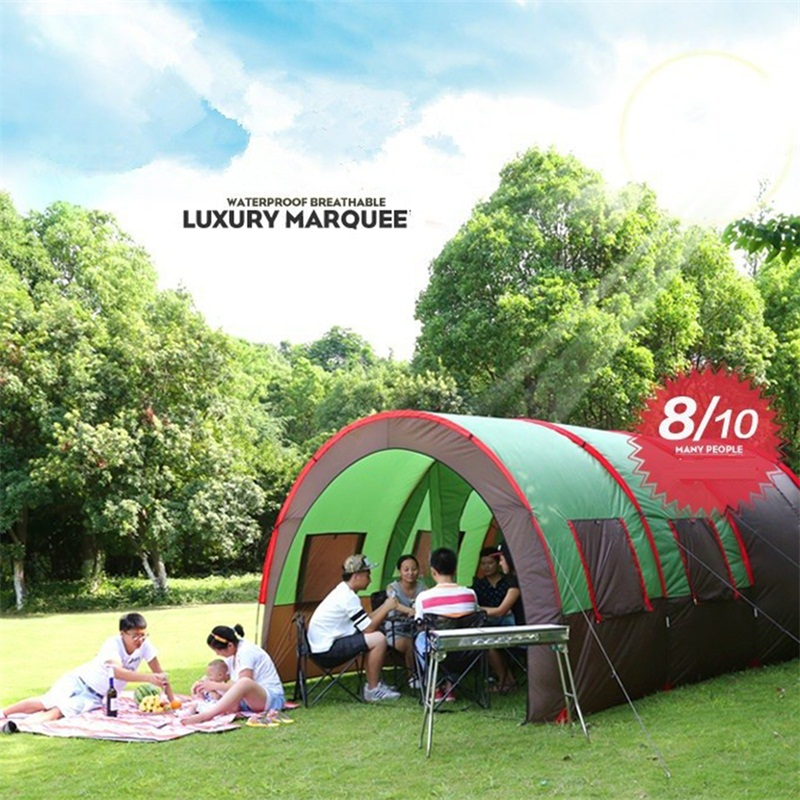 8-10 person One Room Two Hall Large Camping Tent Waterproof Family Tent Fully Sun Shelter Gazebo Party Tent Tunnel Folding Tents in one person
