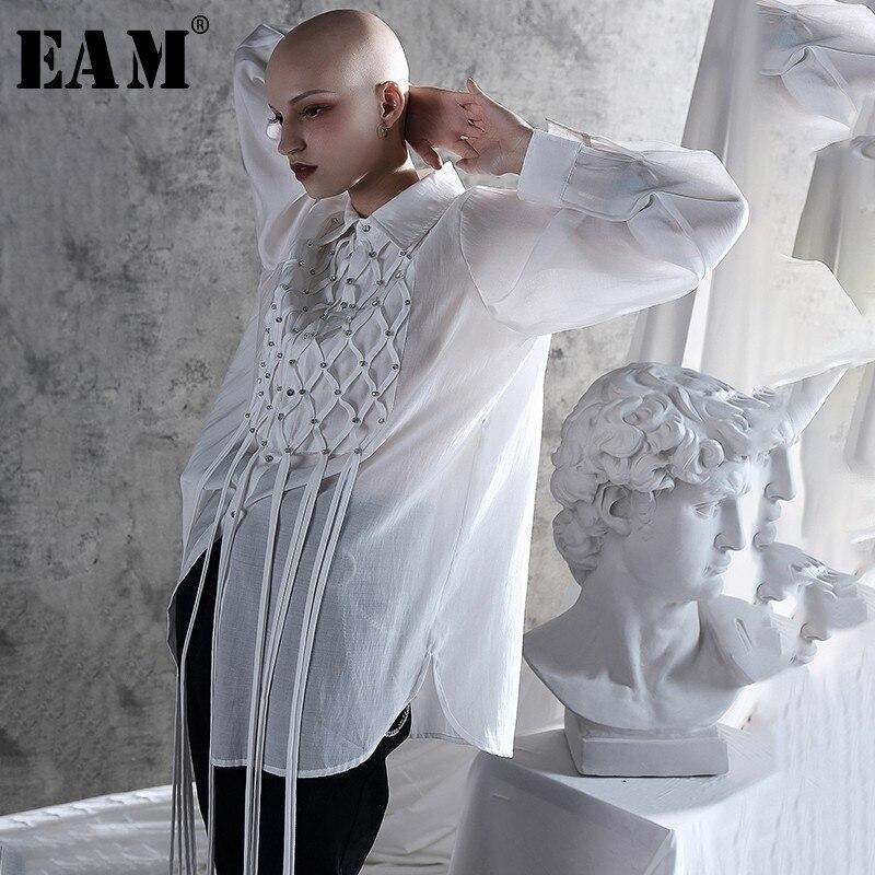 [EAM] 2020 New Autumn Winter Turn-down Collar Long Sleeve Thin Tassel Brief Personality Shirt Women Blouse Fashion Tide JX704