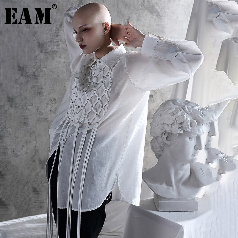 [EAM] 2020 New Spring Autumn Turn-down Collar Long Sleeve Thin Tassel Brief Personality Shirt Women Blouse Fashion Tide JX704