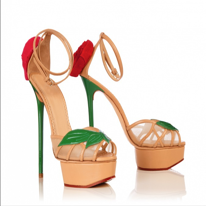 Sweety Women Ankle Strap Sandals Red Flower Peep Toe Platform Shoes Thin Stilettos Extremely High Heels