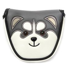 Buy New Mallet Golf Putter Headcover PU Leather Dustproof Lovely Husky Animal Head Cover with Magnetic C For Putter Golf Accessories directly from merchant!