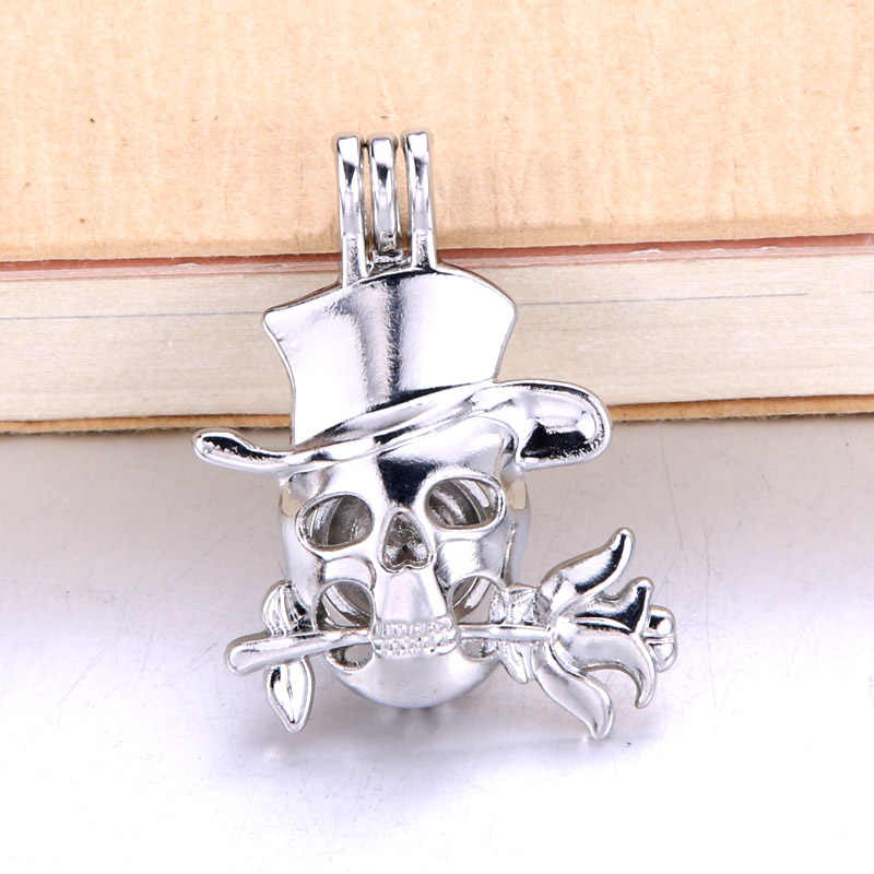 6pcs Halloween Skull Roses Pearl Cage Jewelry Making Bead Cage Pendant Essential Oil Diffuser Locket For Oyster Pearl Fun gifts