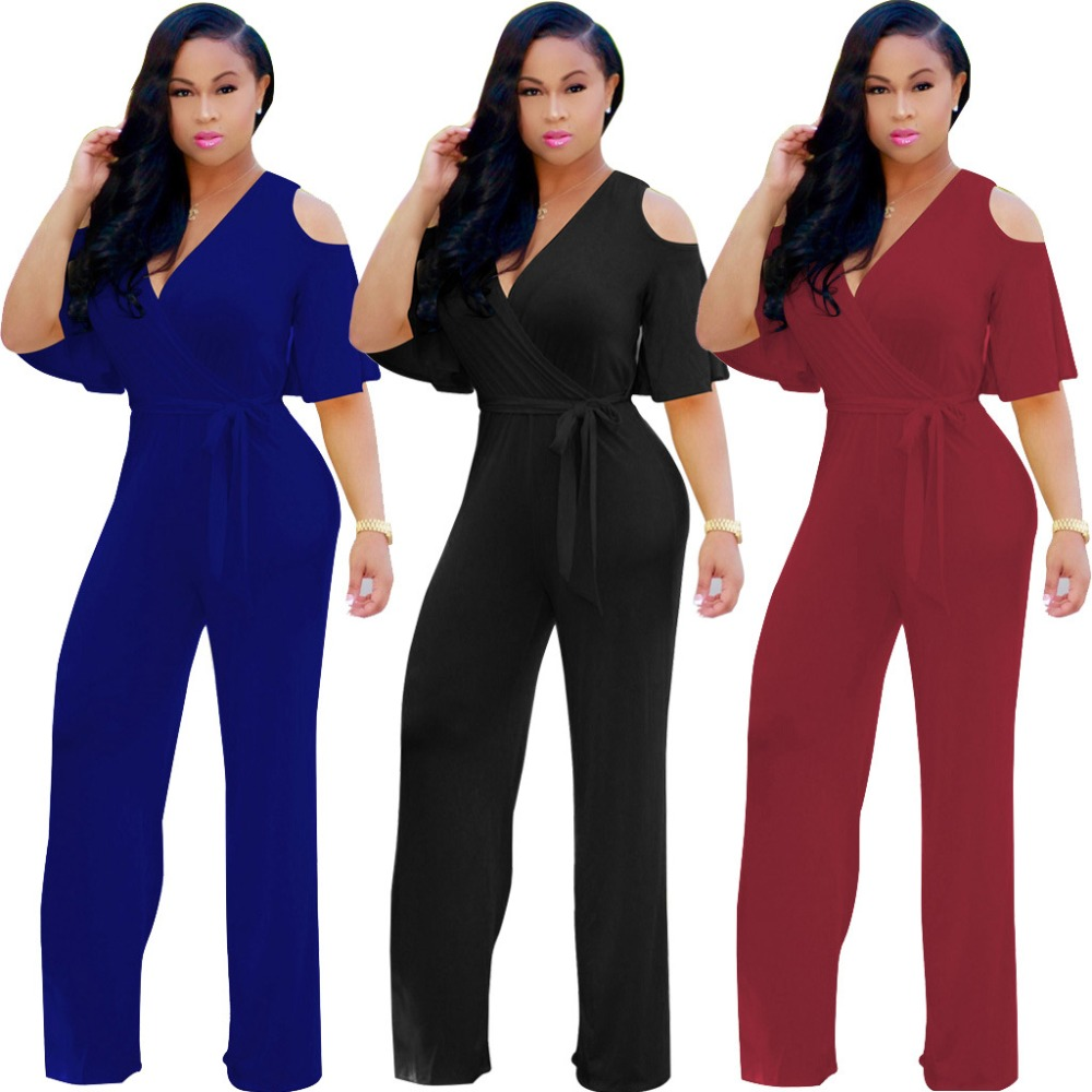 Women Large Size Bandage Lace Up Hollow Out Jumpsuit Casual Rompers For Female Women Loose Jumpsuits Women 2018 Autumn New