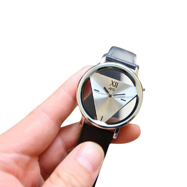 Fashion Triangle Transparent Watch Unique Women Watches Leather Women's Watches
