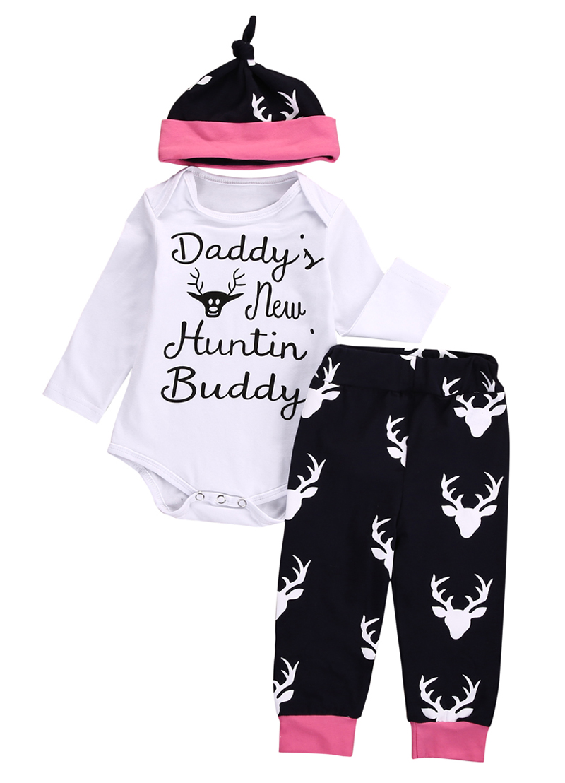 Christmas Infant Toddler Baby Girl Clothes Long Sleeve Romper Pants Cap 3pcs Outfits Set