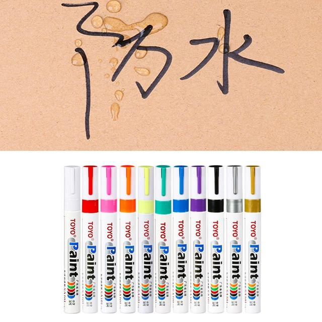 1Pc Colorful Marker Waterproof Lasting White Markers Tire Tread Rubber Fabric Paint Metal Face Permanent Toyo Paint Marker Pen