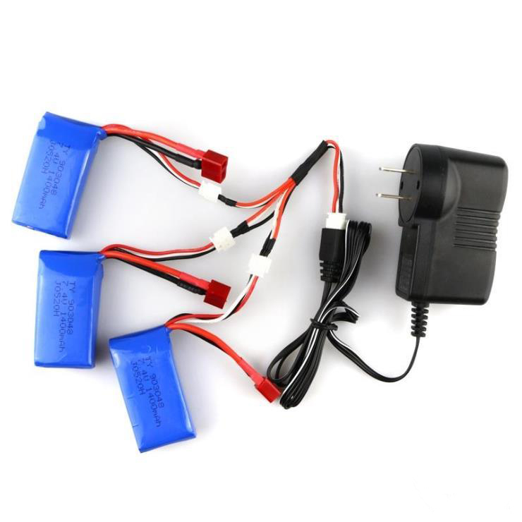 Hot sell 3pcs 7.4V 1400 mAh Battery Charger and 3 to 1 line spare parts For A959-b A969-b A979-b K929-B RC car Toy Parts