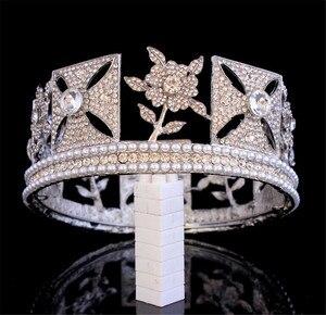 Image 3 - Lüks gelin kraliçe Elizabeth taç avrupa barok taç Headdress düğün saç aksesuarları güzellik saç klipleri kraliyet taçlar